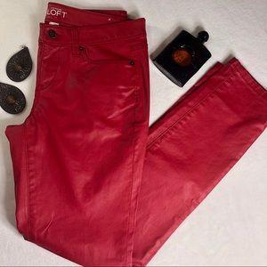 Ann Taylor Loft Red Faux Leather Skinny Leg Pants